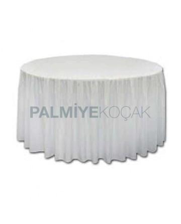 White Satin Fabric Organization Table Cloth