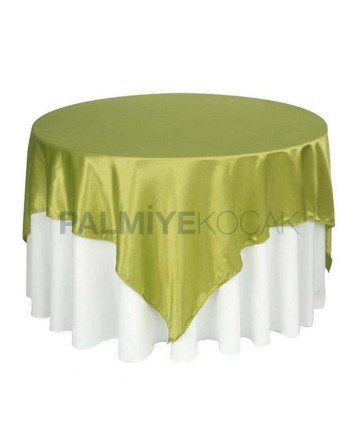 White Satin Fabric Green Cover Table Cloth