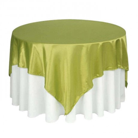 White Satin Fabric Green Cover Table Cloth - mst5012