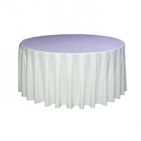 Beyaz Saten Yuvarlak Masa Örtüsü - mst5000