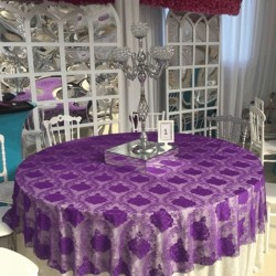 Patterned Lilac Banquet Table Cloth