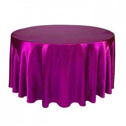 Fushia Satin Fabric Round Table Cloth