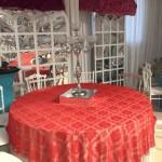 Kırmızı Desenli Düğün Salonu Banket Masa Örtüsü