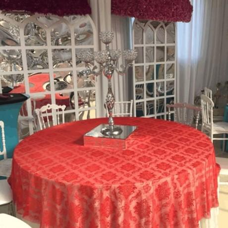 Kırmızı Desenli Düğün Salonu Banket Masa Örtüsü - Masa Örtüsü