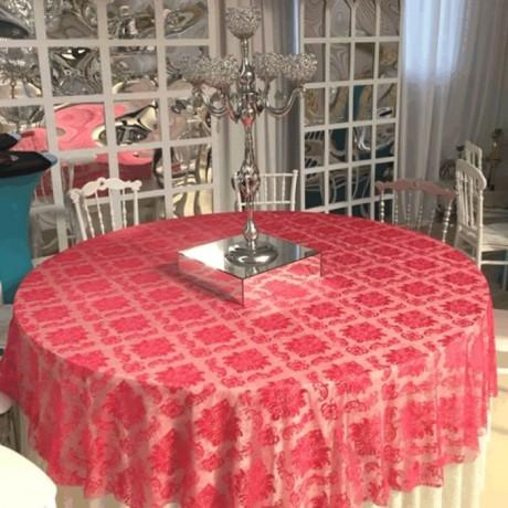 Kırmızı Desenli Düğün Salonu Masa Örtüsü - Masa Örtüsü