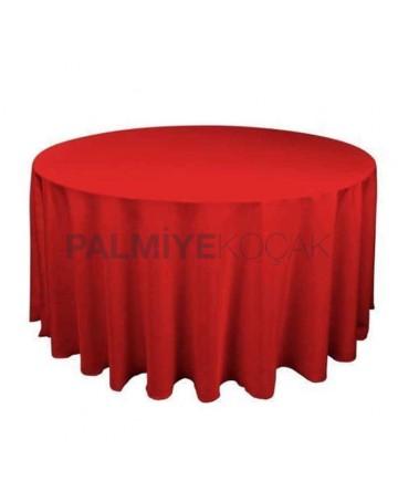 Kırmızı Kumaşlı Yuvarlak Banket Masa Örtüsü
