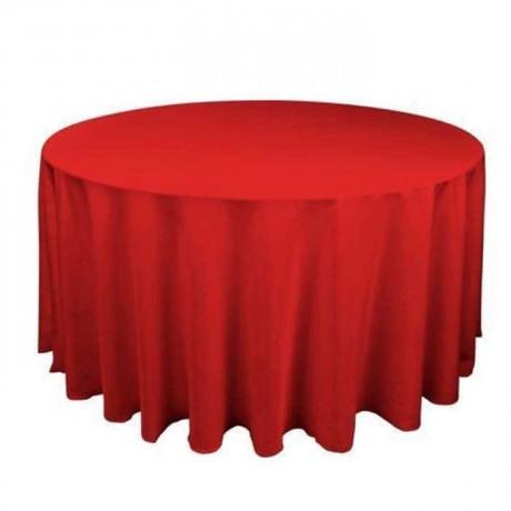 Kırmızı Kumaşlı Yuvarlak Banket Masa Örtüsü - mst5023