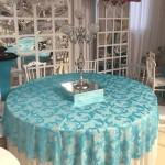 Turkuaz Desenli Banket Masa Düğün Davet Salonu Masa Örtüsü