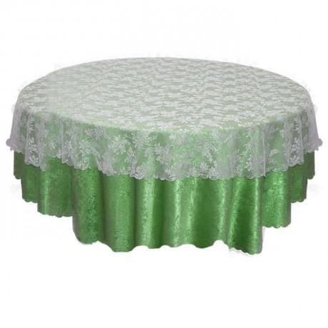 Yeşil Desenli Kumaşlı Dantel Tüllü Masa Örtüsü - mst5030