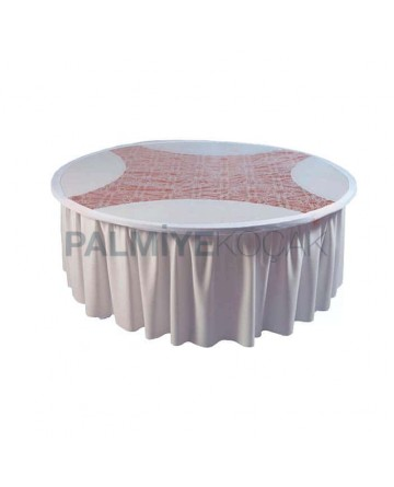Round White Fabric Rubber Band Banquet Table Cloth