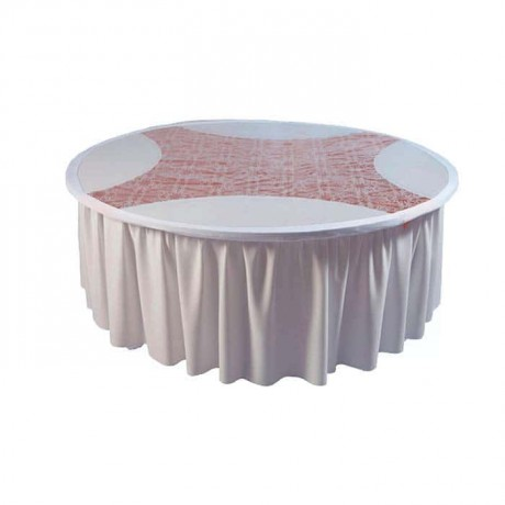 Round White Fabric Rubber Band Banquet Table Cloth - mst5005