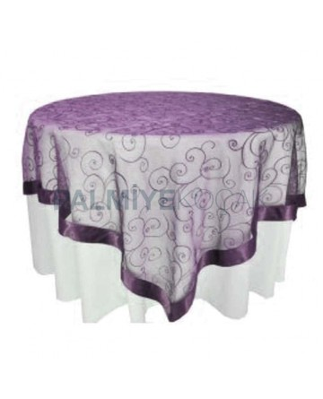 Round Table Cloth with Purple Fabric