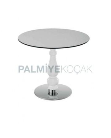 White Lake Leg Painted Round Metal Table