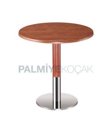 Walnut Painted Metal Leg Cafe Table