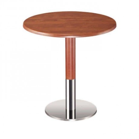 Walnut Painted Metal Leg Cafe Table - mty8090