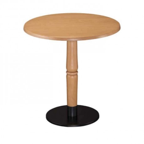 Natural Wooden Black Leg Cafe Table - mty8087