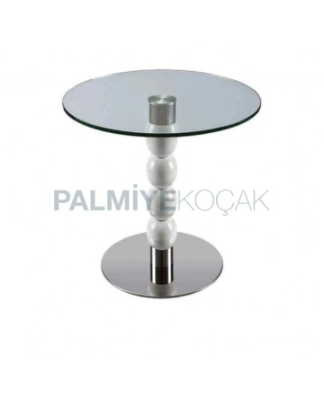 Stainless Steel Base Wooden Turned Table