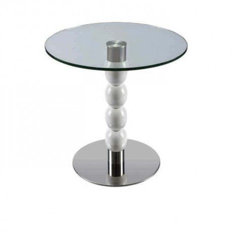 Stainless Steel Base Wooden Turned Table - msty8107