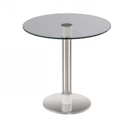 Paslanmaz Yuvarlak Tabanlı Camlı Masa - Metal Ayaklı Masa