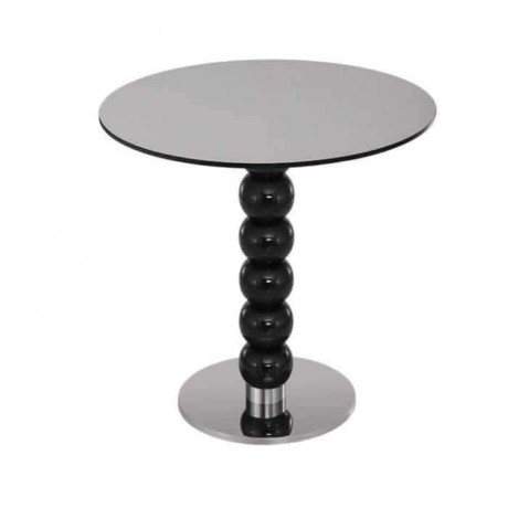 Turned Leg Metal Based Round Table - mty8098