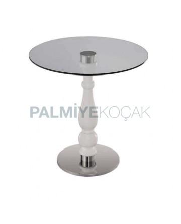 Yuvarlak Camlı Paslanmaz Ayaklı Cafe masası