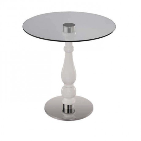 Round Glass Stainless Steel Leg Table - mty8103