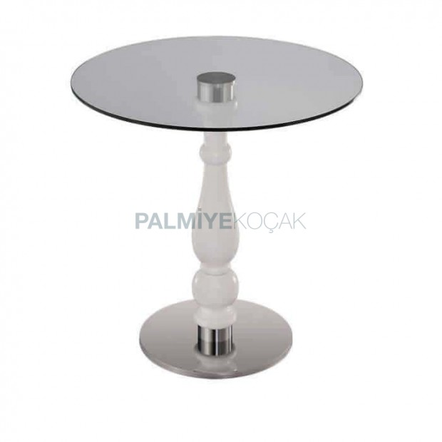 Round Glass Stainless Steel Leg Table