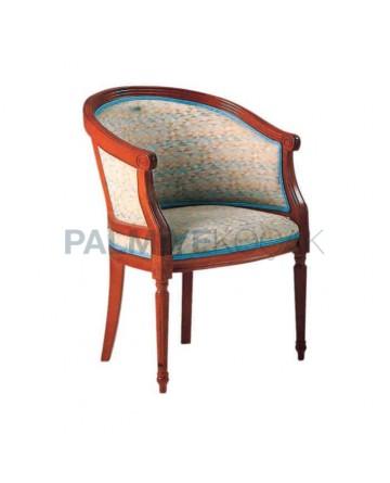 Mahogany Dyed Cream Pillow Armchair