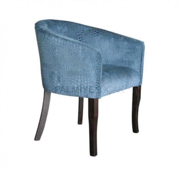 Mavi Döşemeli Cafe Kollu Sandalye