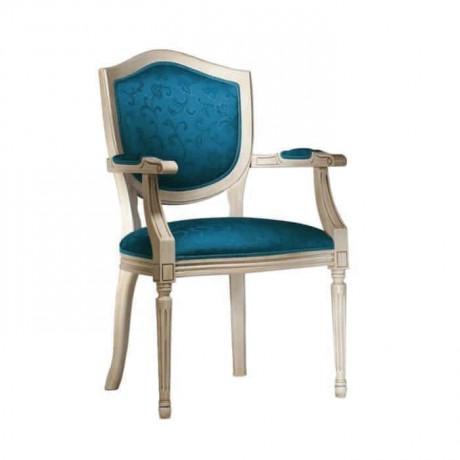 Mavi Döşemeli Klasik Kollu Sandalye - ksak84