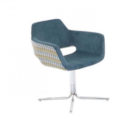 Mavi Kumaş Döşemeli Krom Ayaklı Kollu Sandalye - psd212