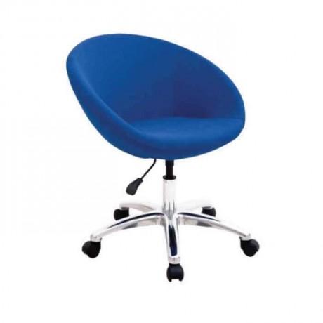 Mavi Kumaş Döşemeli Krom Ayaklı Poliüretan Sandalye - psd201