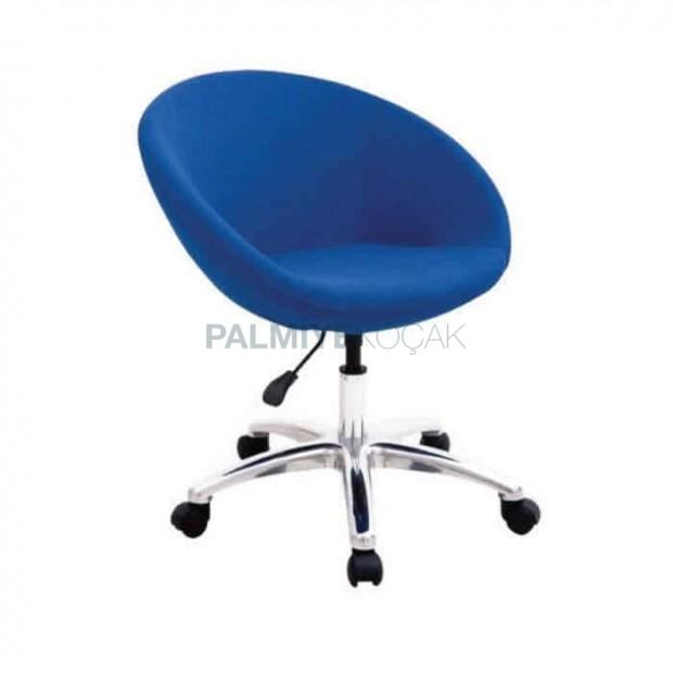 Mavi Kumaş Döşemeli Krom Ayaklı Poliüretan Sandalye