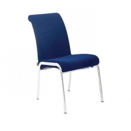 Mavi Kumaş Döşemeli Krom Borulu Poliüretan Sandalye - psd240