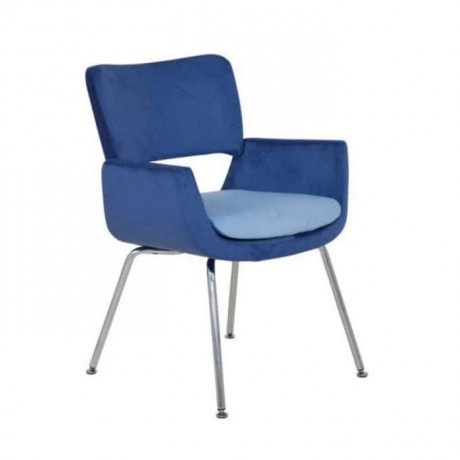 Blue Fabric Upholstered Metal Pipe Leg Chair - psd281