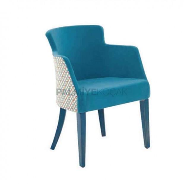 Mavi Kumaş Döşemeli Poliüretan Kollu Sandalye