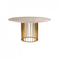 Beige Color Round Marble Metal Pedestal Table
