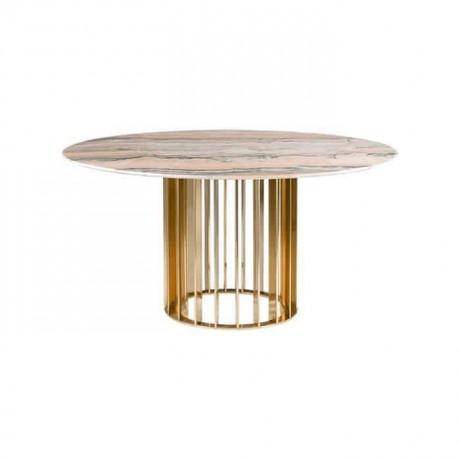 Bej Renkli Yuvarlak Mermer Metal Ayaklı Masa - mrb4541