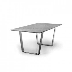 Rectangular Quadruple Marble Metal Pedestal Table
