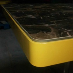 Metal Framed Marble Look Compact Table Top Stainless Star Leg Cafe Table