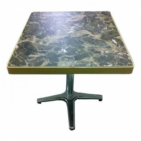 Metal Çerçeveli Mermer Görünümlü Kompakt Tablalı Paslanmaz Yıldız Ayaklı Cafe Masası - mrb4546