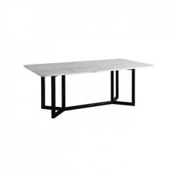 Black Iron Pedestal Marble Table
