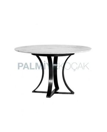 Black Metal Pedestal Granite Marble Top Table
