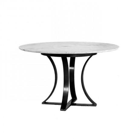 Siyah Metal Ayaklı Granit Mermer Tablalı Masası - mrb4543