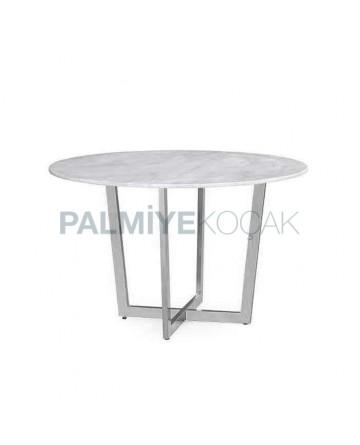 Round Metal Pedestal Restaurant Cafe Marble Table