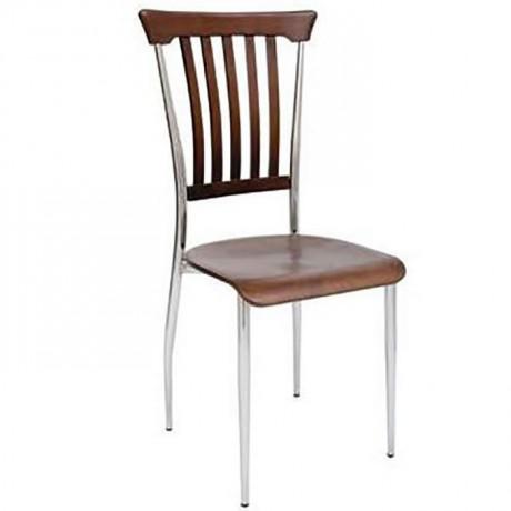 Ahşap Ağaç Tepeli Krom Metal Sandalye - ms105