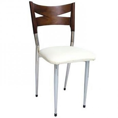 Wooden Patterned Chrome Metal Chair - ams119