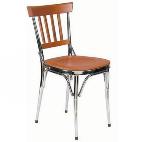 Ceviz Boyalı Krom Sandalye - ams07