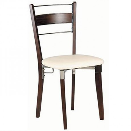 Leather Wooden Chromium Metal Wooden Chair - ams24