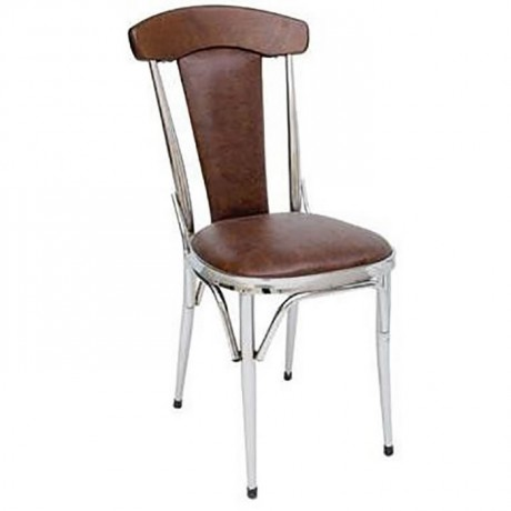 Döşemeli Kontralı Krom Metal Sandalye - ams117